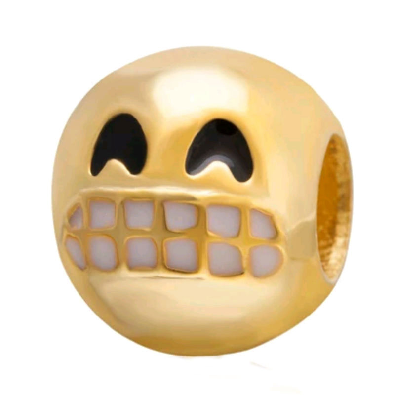 Charm emoticono risitas plata de primera ley chapada en oro de 18 ktes y esmalte. Compatibles con pulseras Pandora.