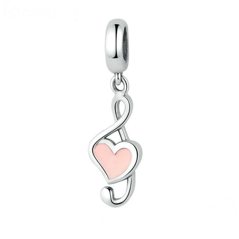 Charm colgante, nota músical en plata de ley y esmaltes rosa . Compatible con pulseras Pandora.