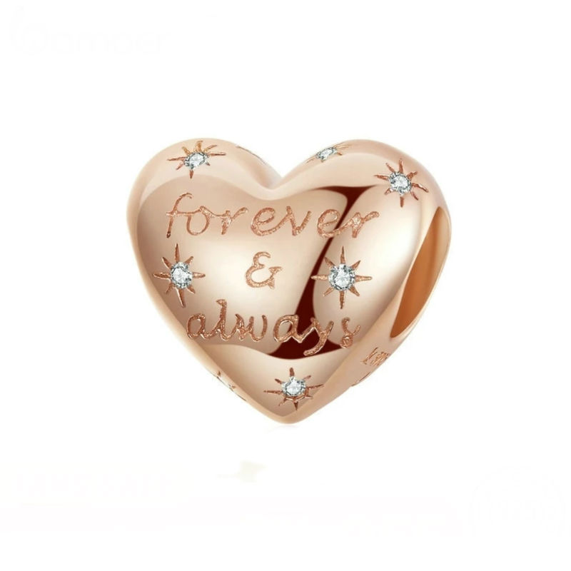 """Charm corazón , Rose con circonitas y inscripcion """". Compatible con pulseras Pandora."""