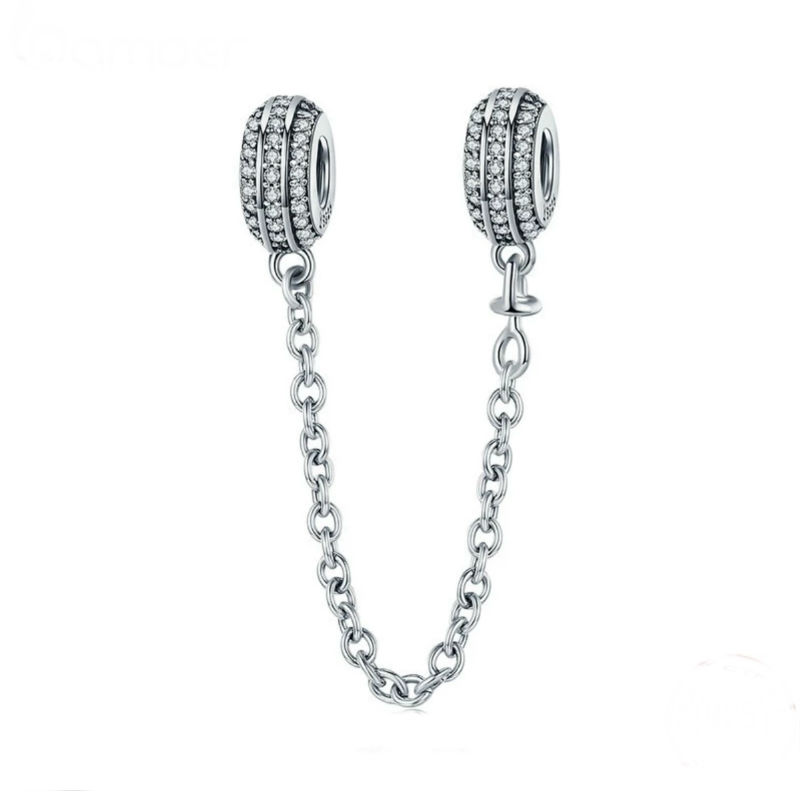 Charm cadena de seguridad con plata de primera ley y circonitas cúbicas transparentes. Compatible con pulseras Pandora.