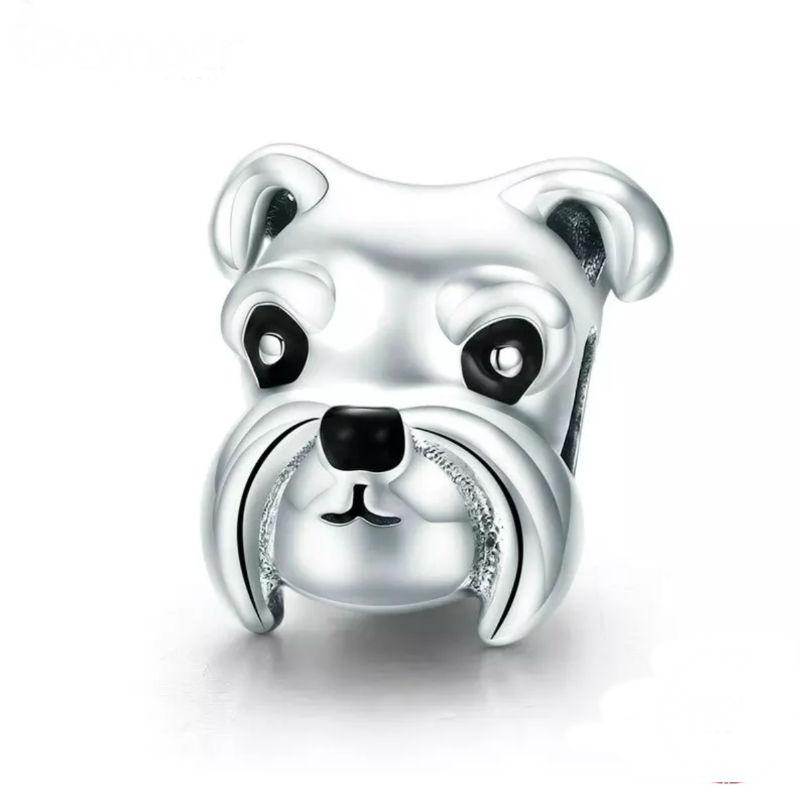 """Charm retrato perro """"schnauzer"""", plata de ley y esmalte negro. Compatible Pandora"""