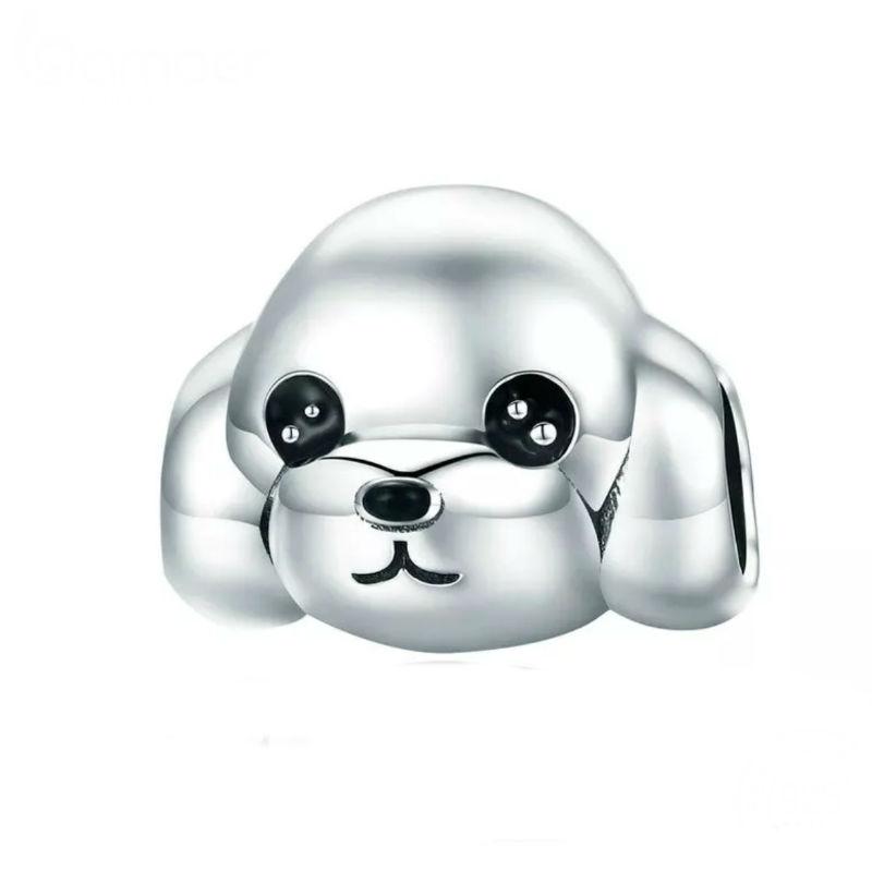 """Charm retrato perro """"poodle"""", plata de ley y esmalte negro. Compatible Pandora"""