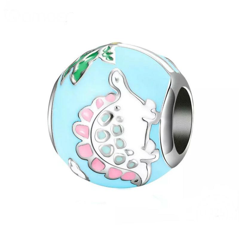 Charm mundo dinosaurio con plata de primera ley y esmaltes.Compatible Pandora.