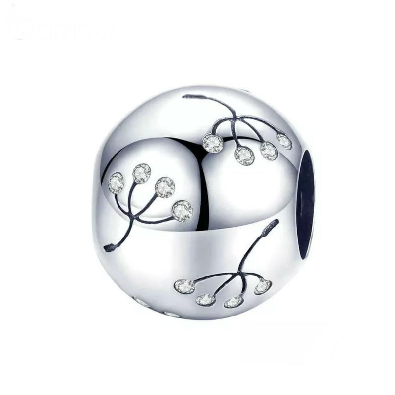Charm flor diente de león y circononitas cubicas transparentes en plata de primera ley. Compatible con pulseras Pandora.
