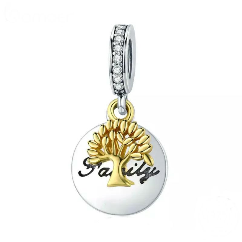 Charm arbol de la família de plata de primera ley y chapada en oro 18 ktes. Compatible Pandora.