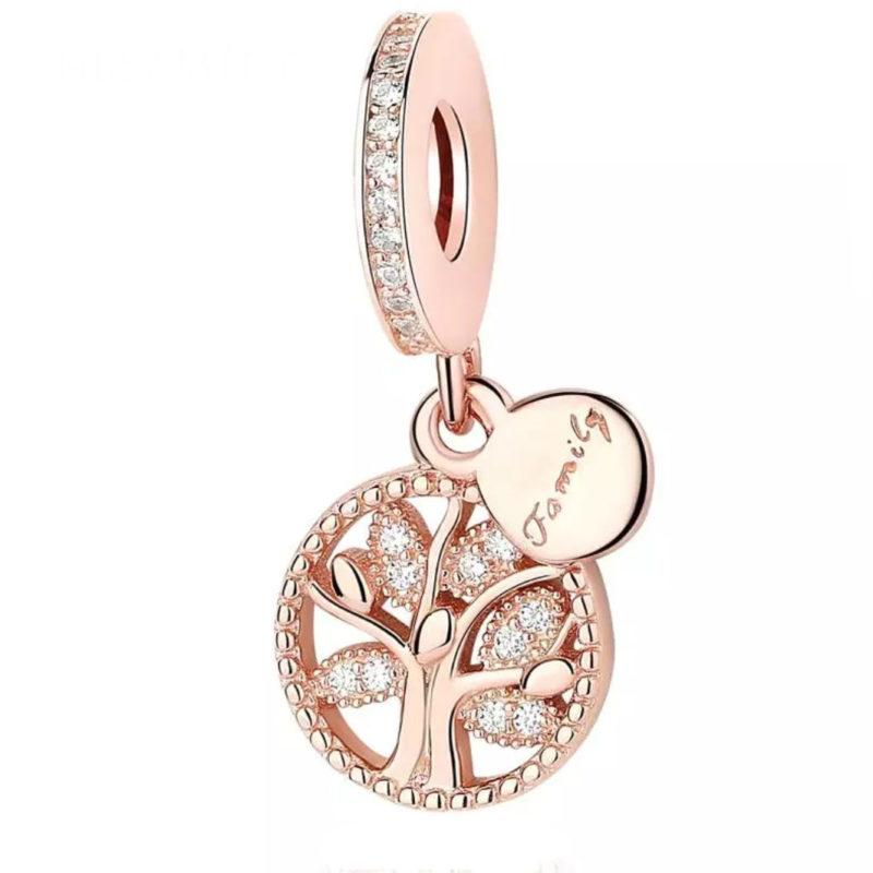 Charm colgante con circonitas blancas en plata de primera ley y rosé. Compatible Pandora.
