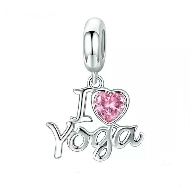 """Charm colgante """" I LOVE YOGA"""" en plata de primera ley y circonita rosa. Compatible Pandora."""