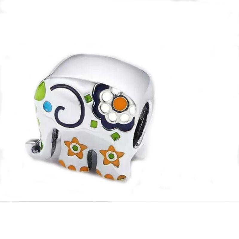 """Charm """"elefante tailandes"""", plata de primera ley y esmaltes de colores. Compatible Pandora."""